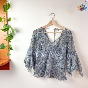 90s Light Weight Blue Paisley Bell Sleeve Blouse S